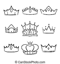 Doodle crown princess collection. Simple crowning, elegant queen or king crowns hand drawn.