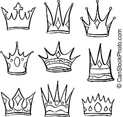 Doodle crown sketch set collection