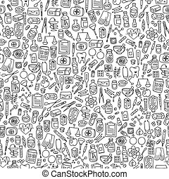 doodle, cuidado, saúde, fundo, ícones