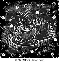 Doodle cup of coffee on a black board