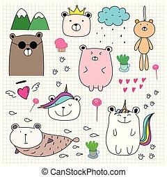 Doodle Cute Bear Set. Hand Drawn Style Vector Illustration.