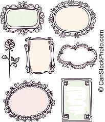 doodle, cute, blomstrede, sæt, ramme