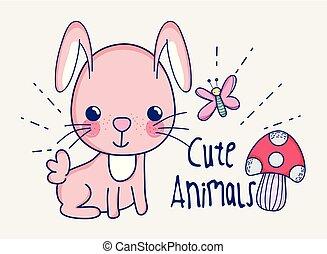 doodle, cute, caricatura, coelhinho