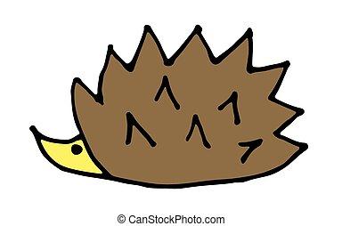 Doodle cute cartoon colored forest hedgehog illustration