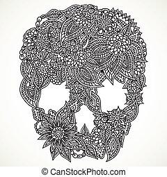 doodle, czaszka