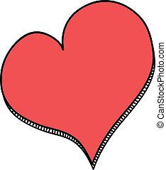 doodle, czerwone serce