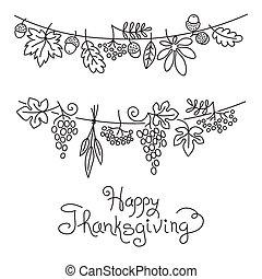 doodle, dekoracyjny, girlanda, freehand, dziękczynienie