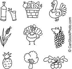 doodle, desenhar, ação graças, mão