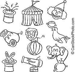 doodle, desenhar, circo, mão