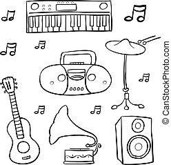 doodle, desenhar, música, mão