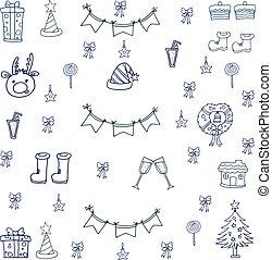 doodle, desenhar, natal, mão