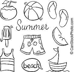 doodle, desenhar, verão, mão