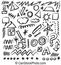 doodle design elements, vector shapes
