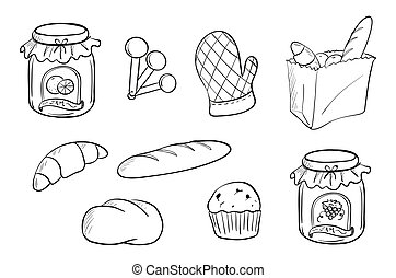 Doodle design of bread and jam - Illustration of a doodle...