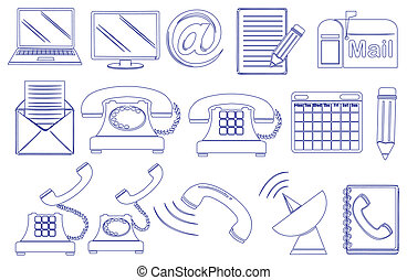 Doodle design of the different tools for communication