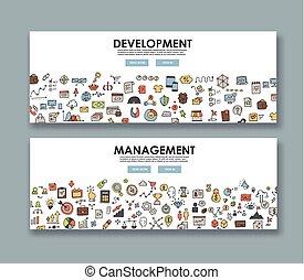 Doodle design style concept banner, development and management.