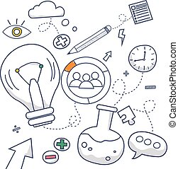 Doodle design style concept of creative idea, finding solution, brainstorming, creative thinking. Modern line style illustration for web banners, hero images, printed materials