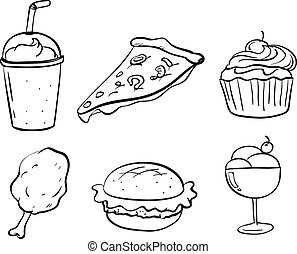 Doodle designs of the different foods