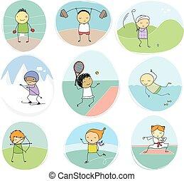 doodle, desporto, cobrança, crianças