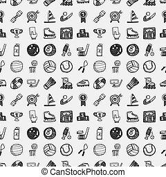 doodle, desporto, seamless, padrão