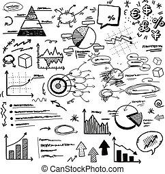doodle, diagrammen, hand