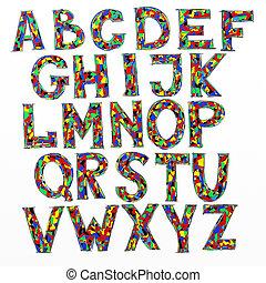 doodle, digital, desenhado, esboço, alfabeto