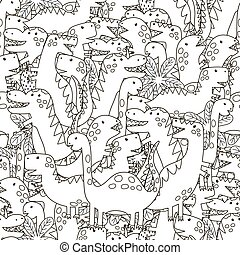 Doodle dinosaurs seamless pattern