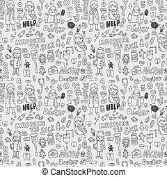 doodle doctor element seamless pattern