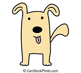 Doodle Dog. Hand drawn lines cartoon character vector illustration isolated on white background.