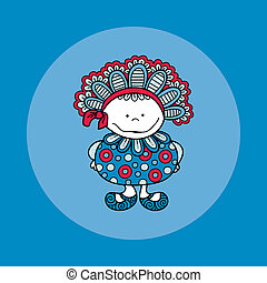 Doodle Doll with Bonnet Hand Drawn Doodle Blue Background
