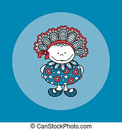 Doodle Doll with Bonnet Hand Drawn Doodle Vector Blue Background