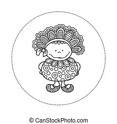 Doodle Doll with Bonnet Hand Drawn Doodle Vector