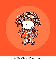 Doodle Doll with Bonnet Hand Drawn Doodle Vector Orange Background