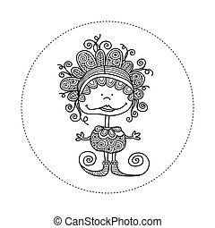 Doodle Doll with Curls Hand Drawn