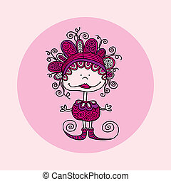 Doodle Doll with Curls Pink