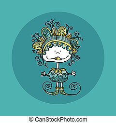 Doodle Doll with Curls Vector Green