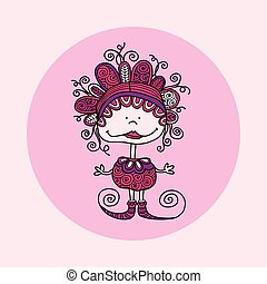 Doodle Doll with Curls Vector Pink