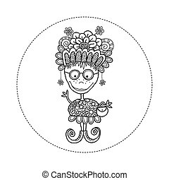 Doodle Doll with Flowers Hand Drawn Doodle Vector