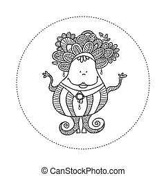 Doodle Doll with Jewels Hand Drawn Doodle Vector