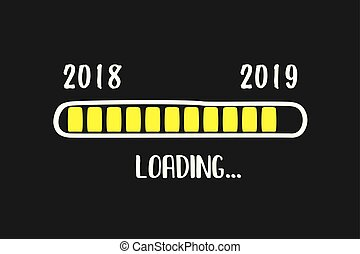 Doodle Download bar, 2018 and 2019 years loading text,