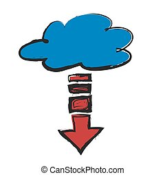 doodle download cloud icon, vector