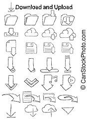 Doodle download icon set.