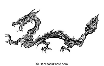 Doodle Dragon - Doodle Black Dragon Isolated on White...