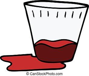 doodle, drank, spotprent, spilt