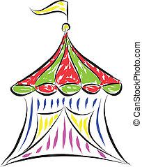 circus tent  - doodle drawing of circus tent vector