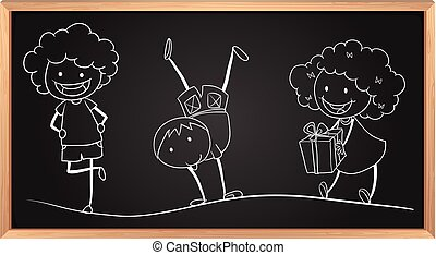Doodle drawing of kids on the board