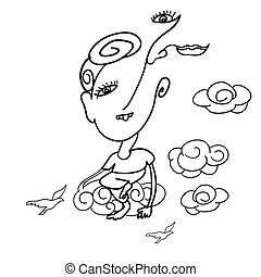 Doodle drawing of surreal man sitting on cloud
