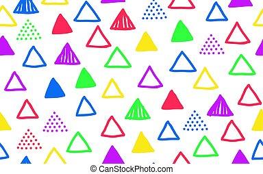 doodle, driehoek, seamless, model