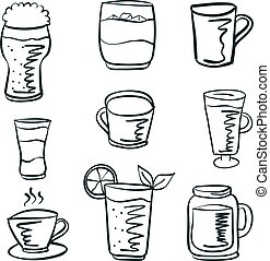 Doodle drink set hand draw