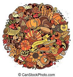 doodle, dziękczynienie, ilustracja, dzień, koło, rysunek
